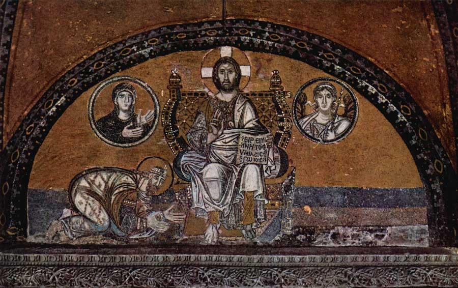 Император Лев Мудрый перед троном Христа. Мозаика церкви св. Софии в Константинополе 866—912