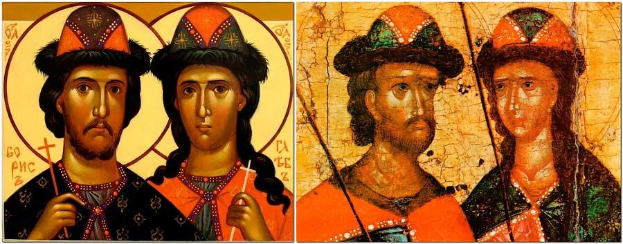Иконы, изображающие братьев Бориса и Глеба
