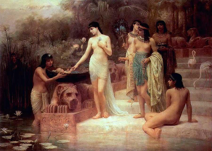 мальчика в корзине, дочь фараона и её служанки