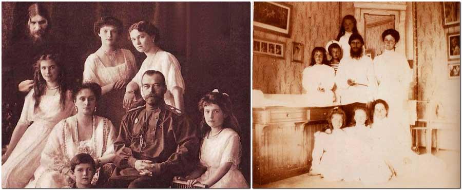 Григорий Распутин и царская семья Романовых (Григорий изображен за спиной Анастасии или Марии?).