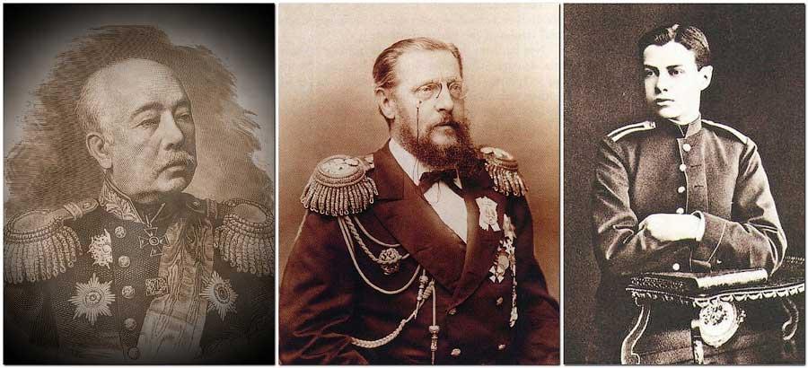 Генерал-лейтенант Амосов и адмирал Константин Николаевич Романов с сыном Вячеславом
