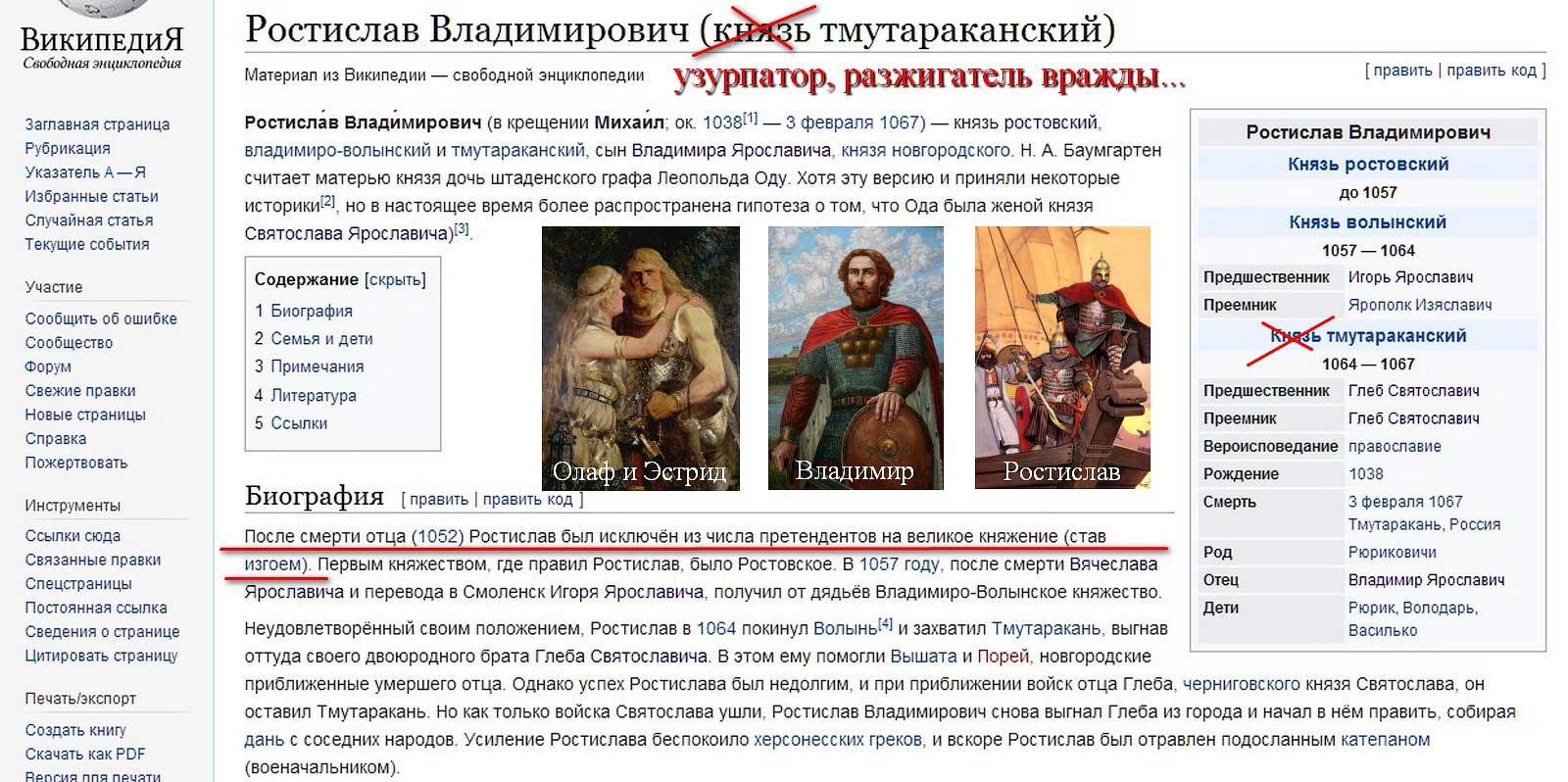 Страница изгоя Ростислава Владимировича действительно есть, но он в его крови мировича (с добавленными предполагаемыми картинами)