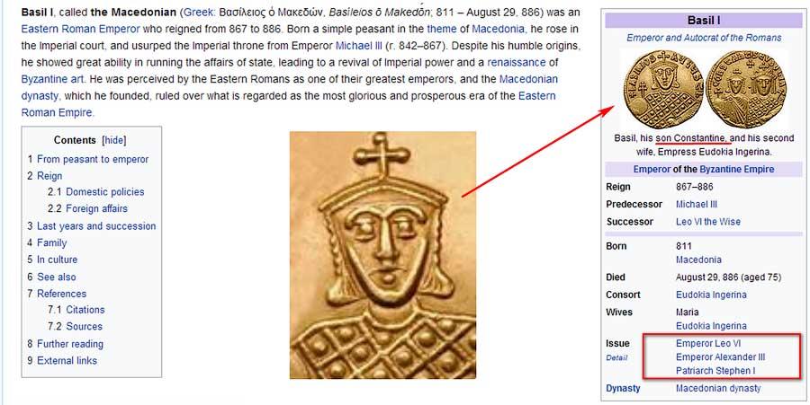 Принтскрин экрана личной страницы Василия I Македоянина