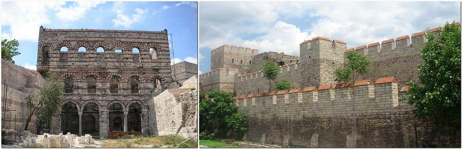 Останки стен императорского дворца в Константинополе