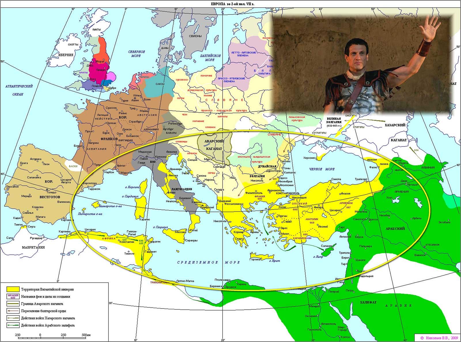 Карта границ Византии в 2-ой половине VIII века