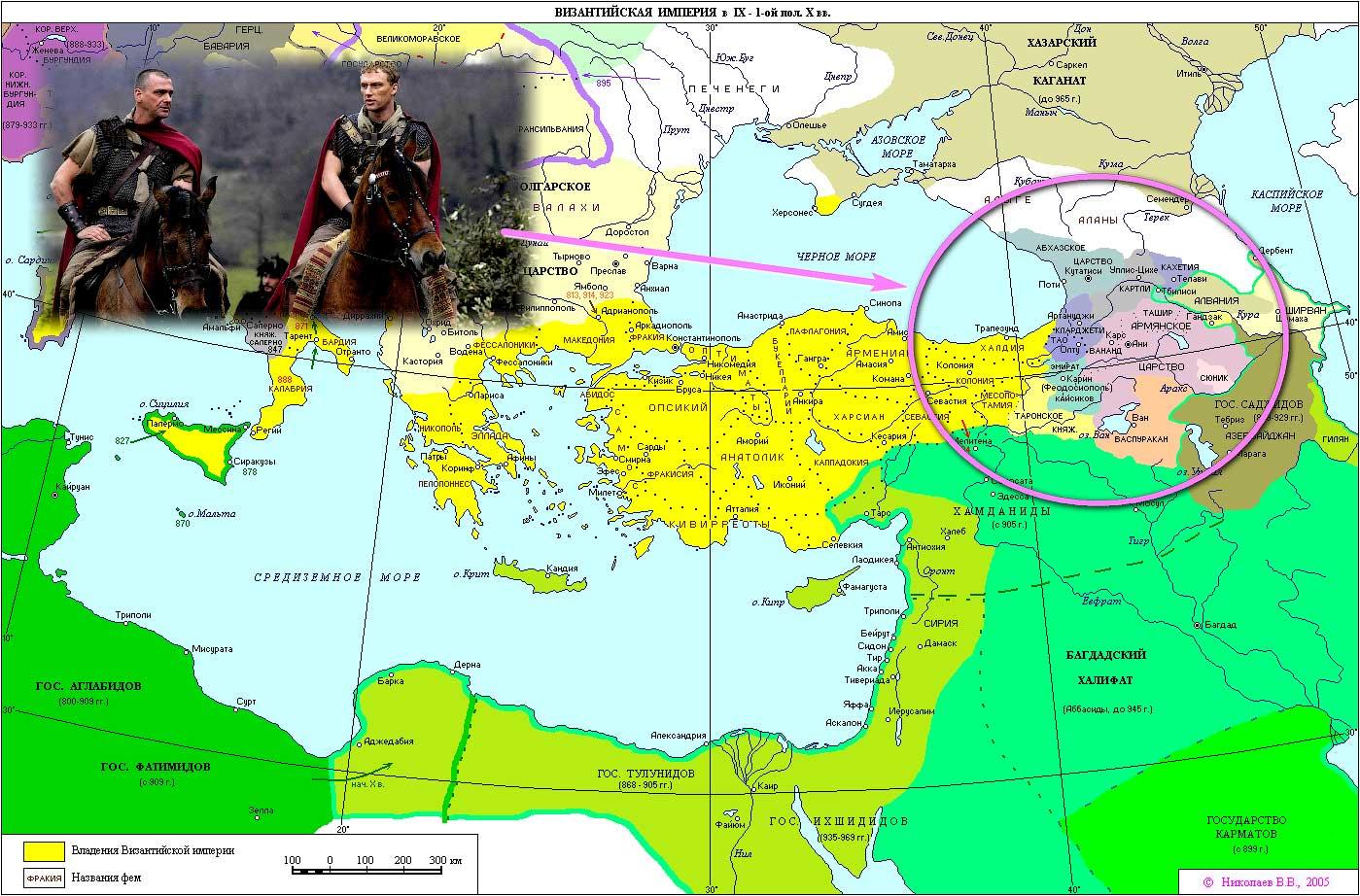 Карта границ Византии в IX и 2-ой половине X века