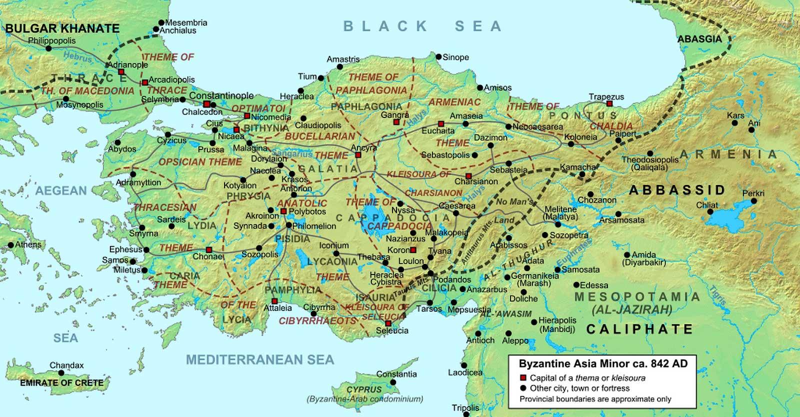 Карта 842 года, изображающая территорию Восточной Римской империи