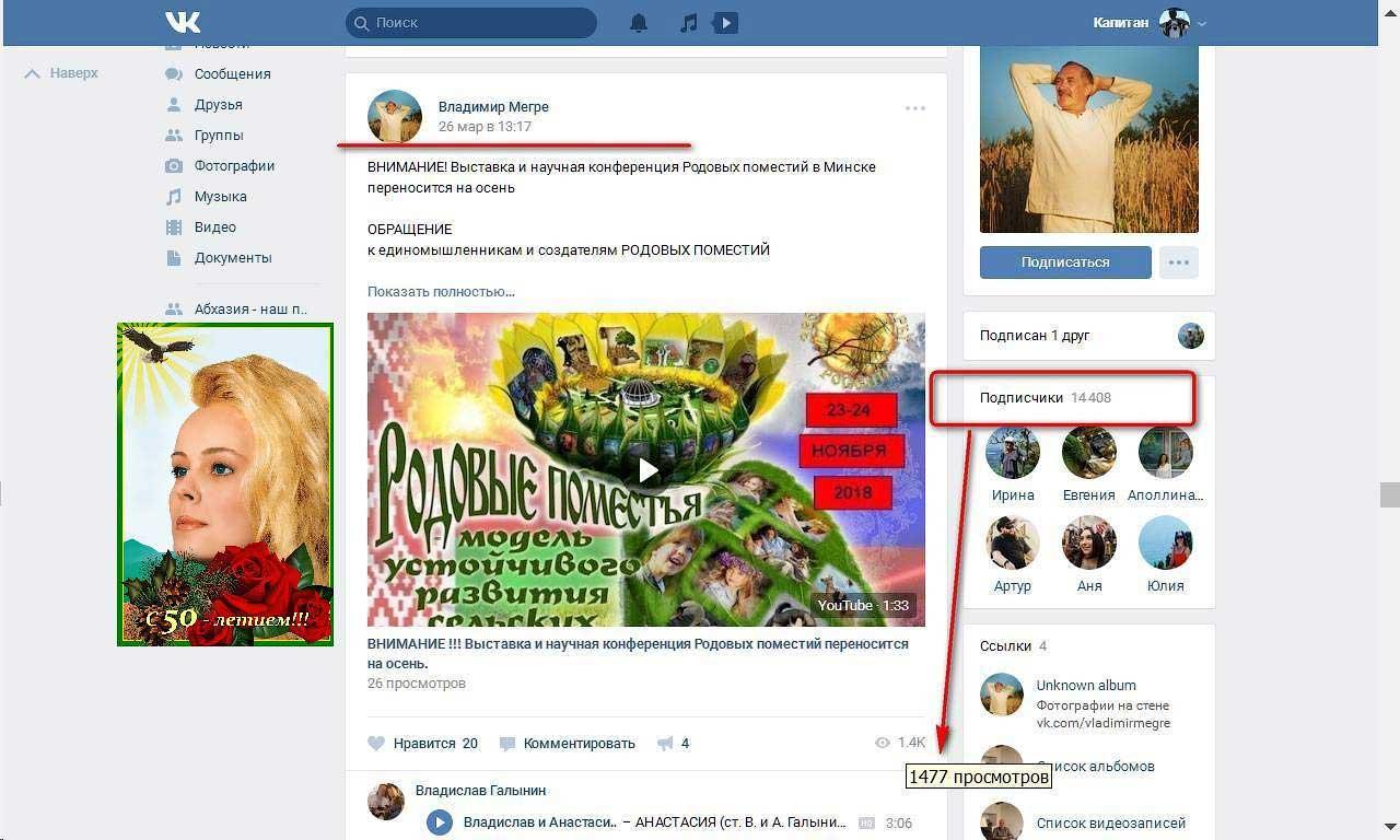 Принтскрин со страницы группы «Владимир Мегре»