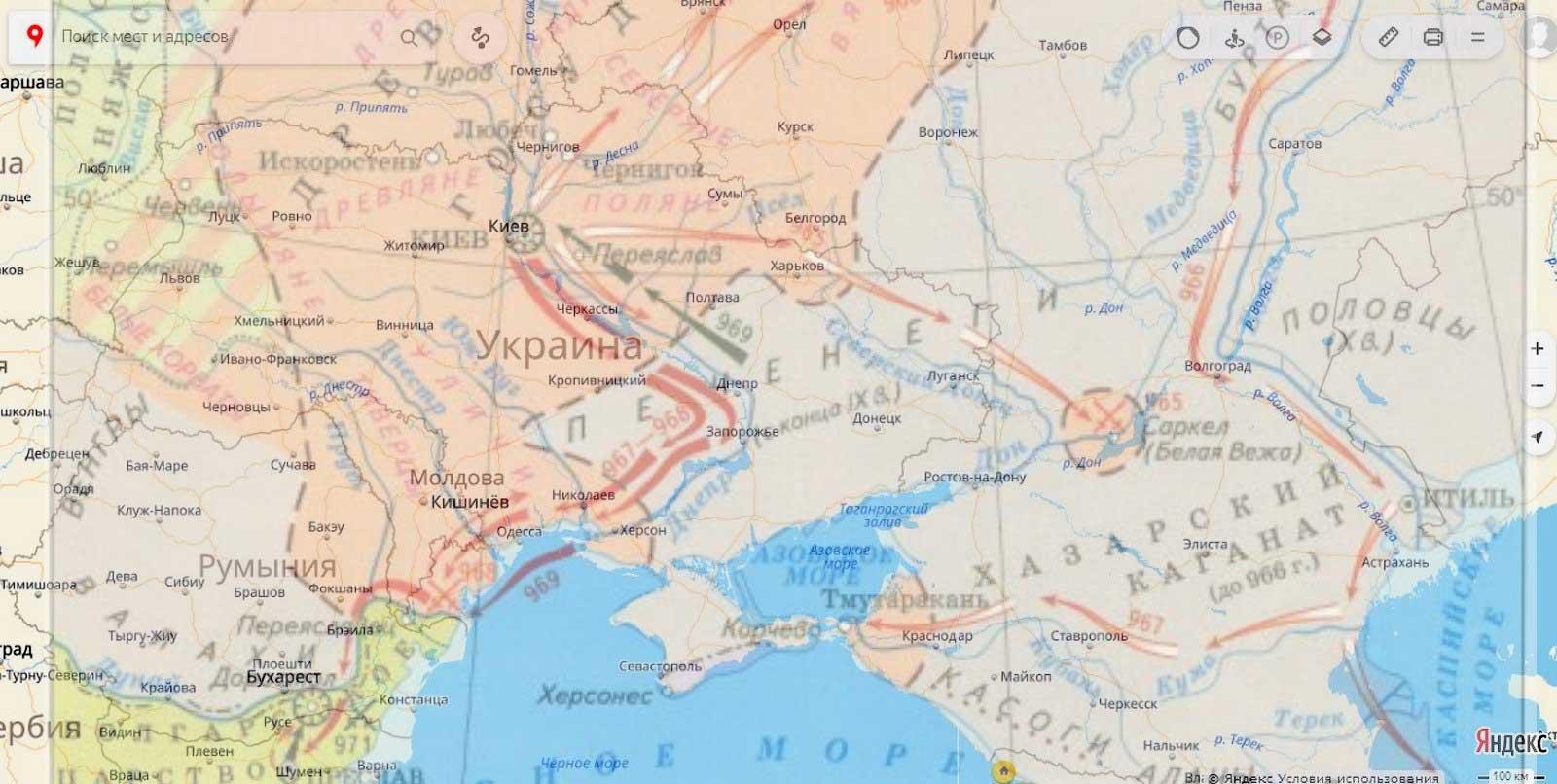 Совмещенная карта конфликта в 966 – 971 годах X века